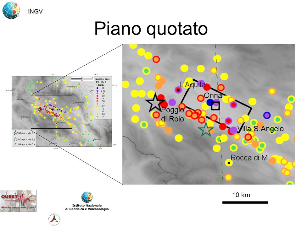 INGV Piano quotato Onna Poggio di Roio Villa S.Angelo 10 km