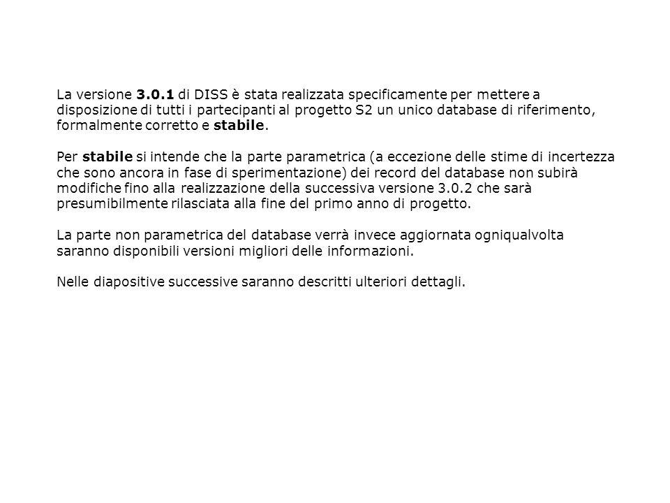 La versione 3.0.1 di DISS è stata realizzata specificamente per mettere a disposizione di tutti i partecipanti al progetto S2 un unico database di riferimento, formalmente corretto e stabile.