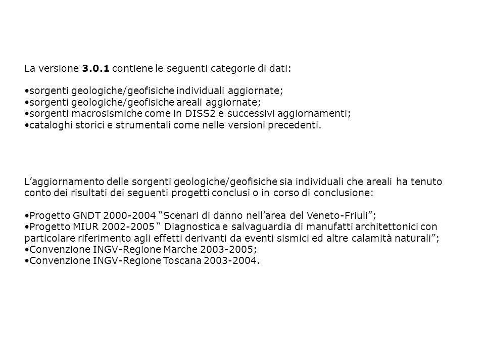 La versione 3.0.1 contiene le seguenti categorie di dati: