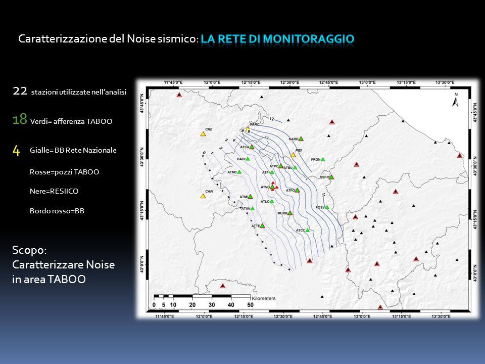 22 stazioni utilizzate nell'analisi 18 Verdi= afferenza TABOO