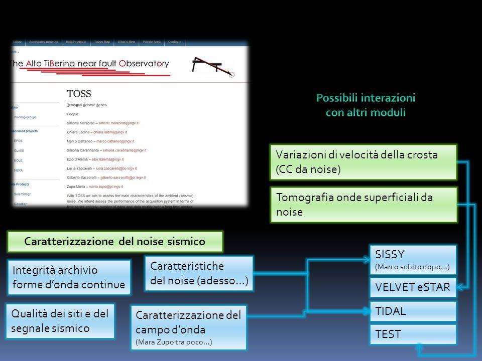 Possibili interazioni Caratterizzazione del noise sismico