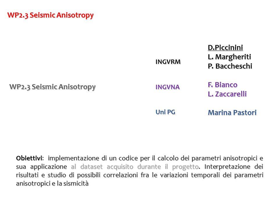 WP2.3 Seismic Anisotropy D.Piccinini L. Margheriti P. Baccheschi