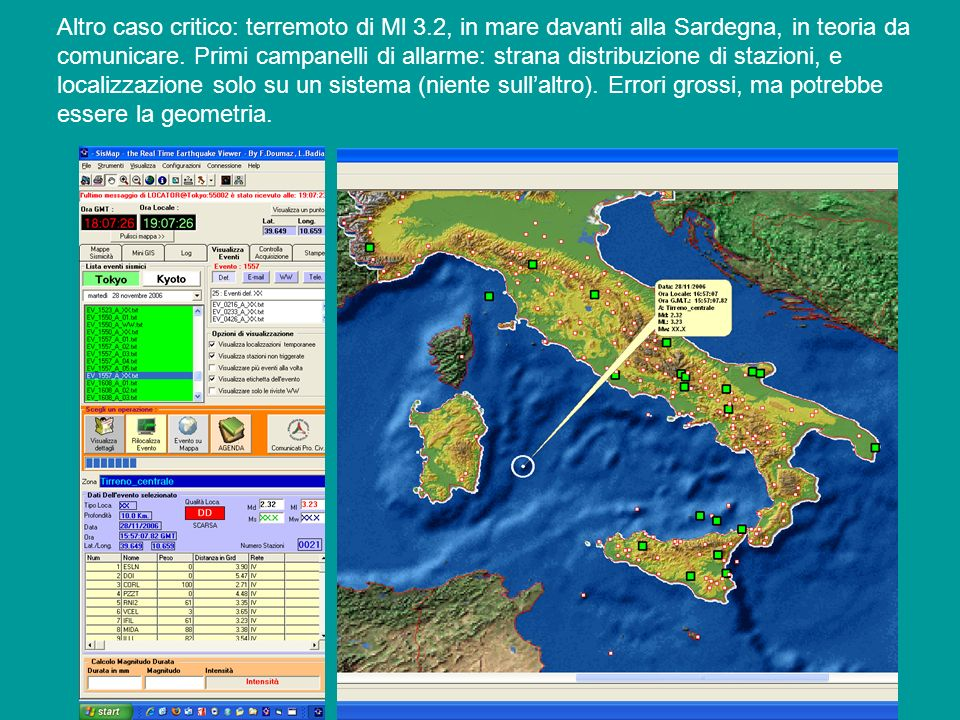 Altro caso critico: terremoto di Ml 3