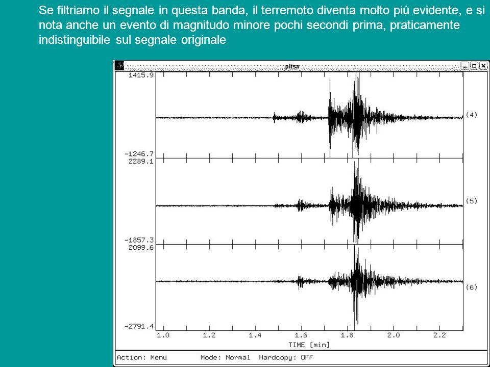 Se filtriamo il segnale in questa banda, il terremoto diventa molto più evidente, e si