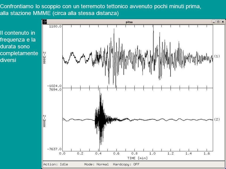 Confrontiamo lo scoppio con un terremoto tettonico avvenuto pochi minuti prima,