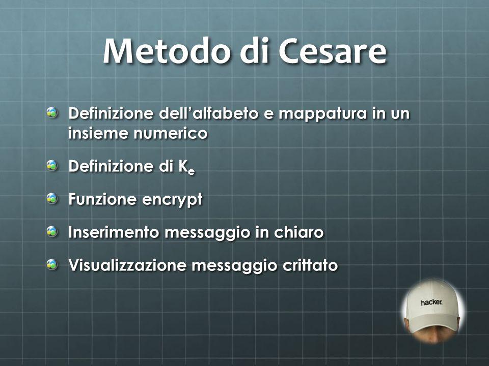 Metodo di Cesare Definizione dell'alfabeto e mappatura in un insieme numerico. Definizione di Ke.