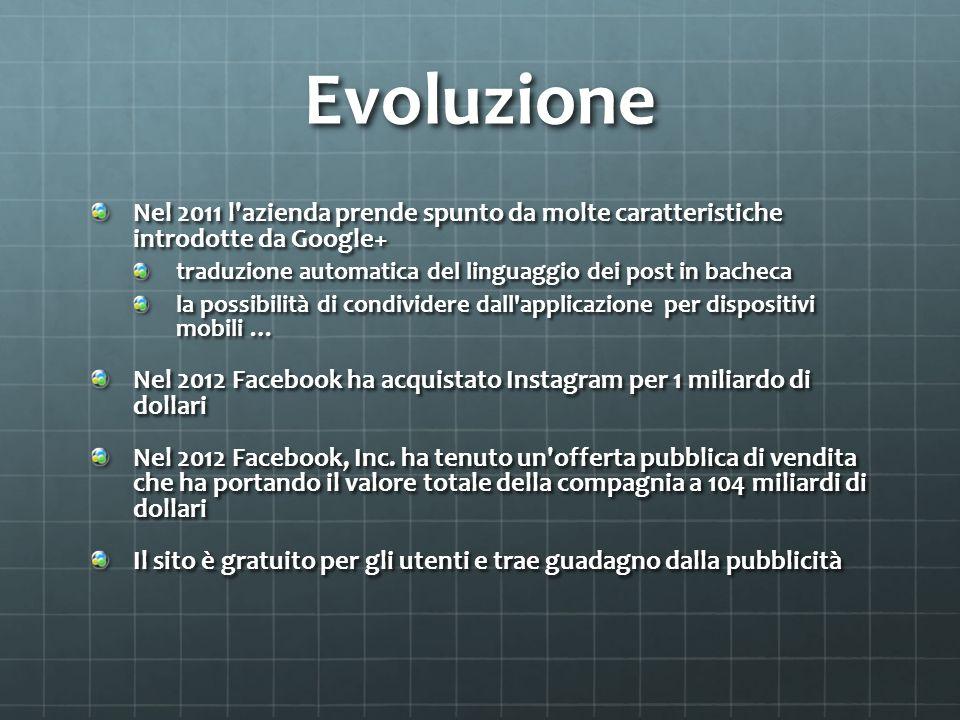Evoluzione Nel 2011 l azienda prende spunto da molte caratteristiche introdotte da Google+ traduzione automatica del linguaggio dei post in bacheca.
