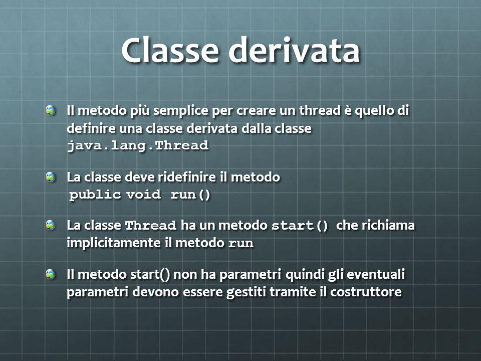 Classe derivataIl metodo più semplice per creare un thread è quello di definire una classe derivata dalla classe java.lang.Thread.