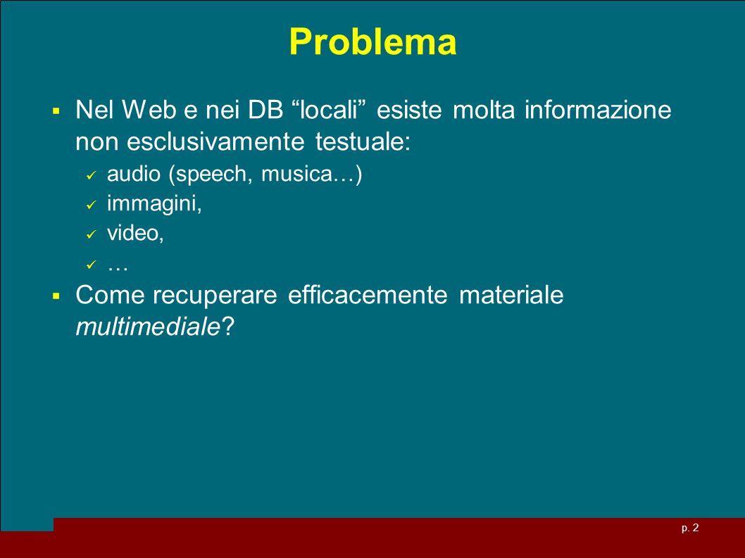Problema Nel Web e nei DB locali esiste molta informazione non esclusivamente testuale: audio (speech, musica…)