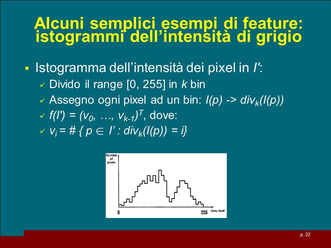 Alcuni semplici esempi di feature: istogrammi dell'intensità di grigio