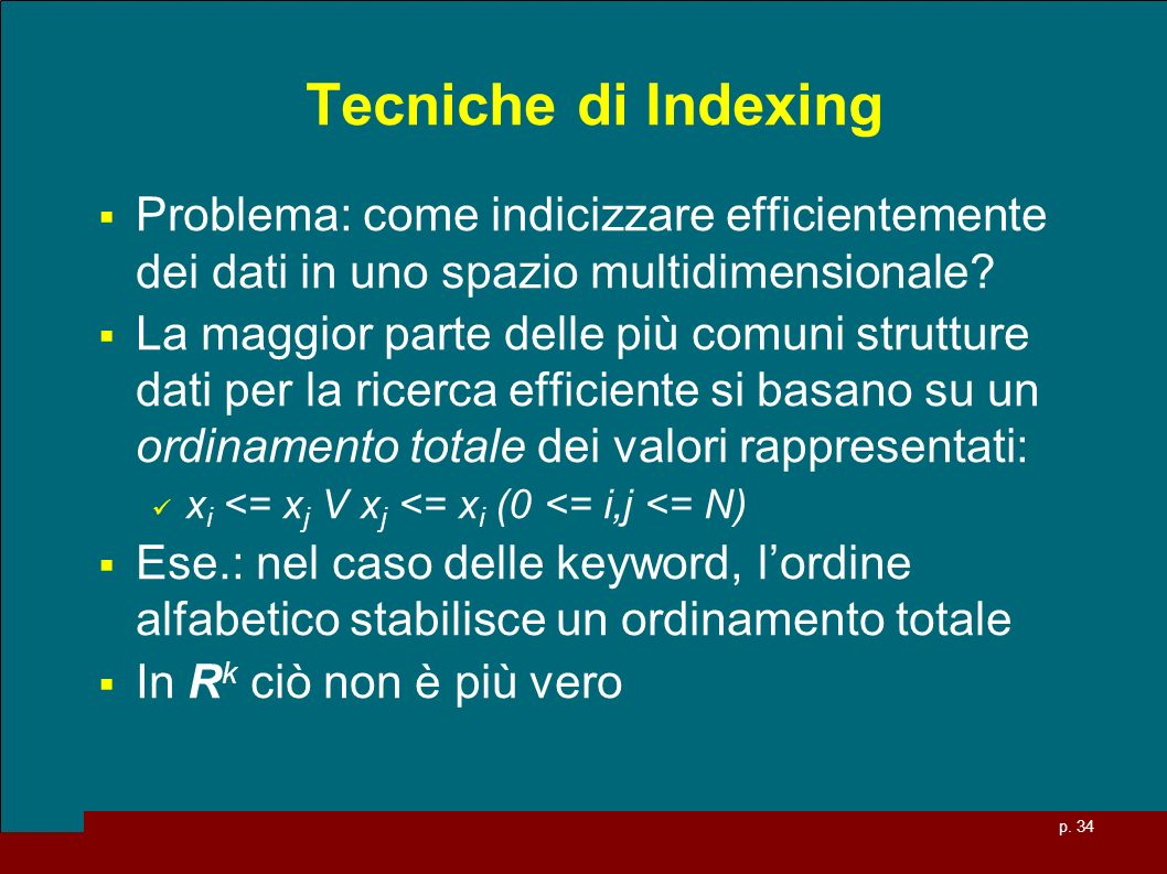 Tecniche di Indexing Problema: come indicizzare efficientemente dei dati in uno spazio multidimensionale