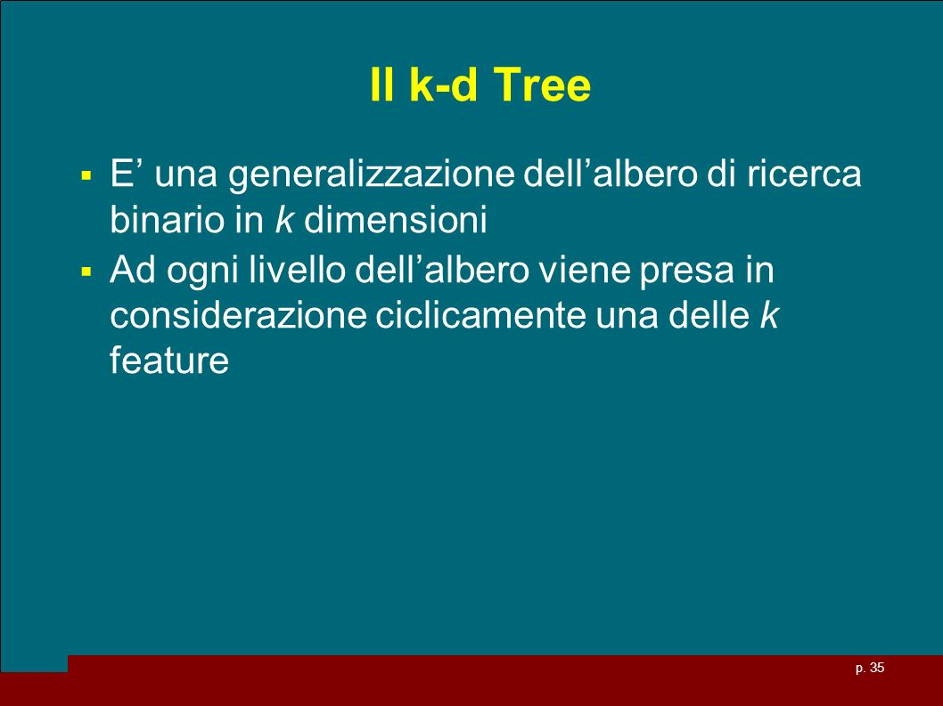 Il k-d Tree E' una generalizzazione dell'albero di ricerca binario in k dimensioni.