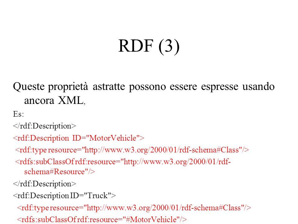 RDF (3) Queste proprietà astratte possono essere espresse usando ancora XML, Es: </rdf:Description>
