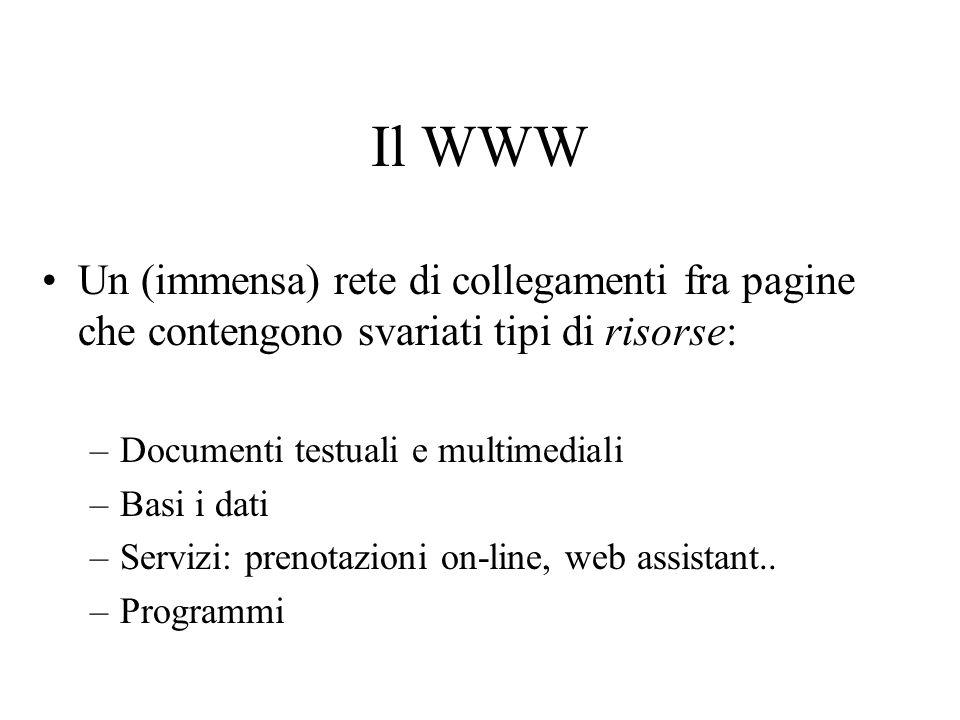 Il WWW Un (immensa) rete di collegamenti fra pagine che contengono svariati tipi di risorse: Documenti testuali e multimediali.