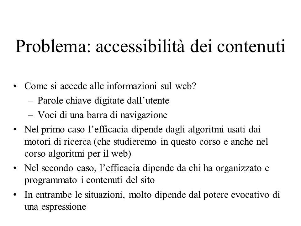 Problema: accessibilità dei contenuti
