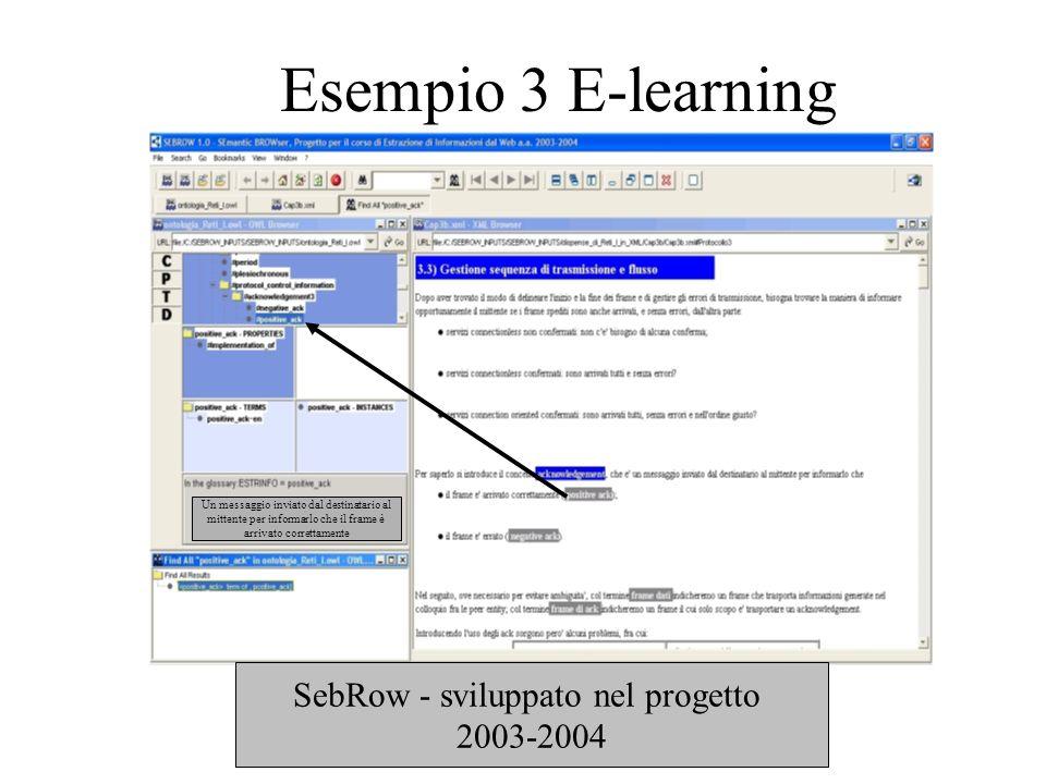 Esempio 3 E-learning SebRow - sviluppato nel progetto 2003-2004