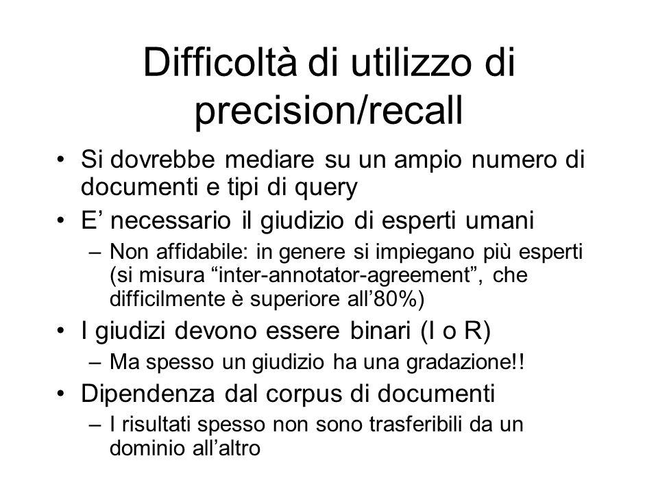 Difficoltà di utilizzo di precision/recall