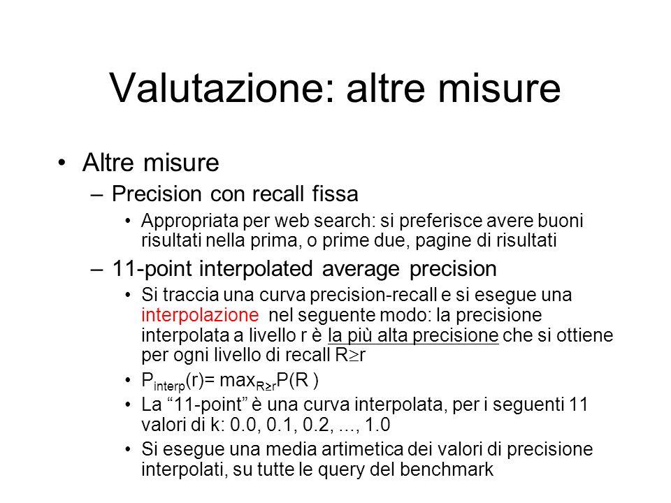 Valutazione: altre misure