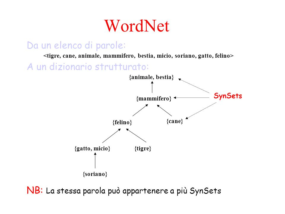 WordNet Da un elenco di parole: A un dizionario strutturato: