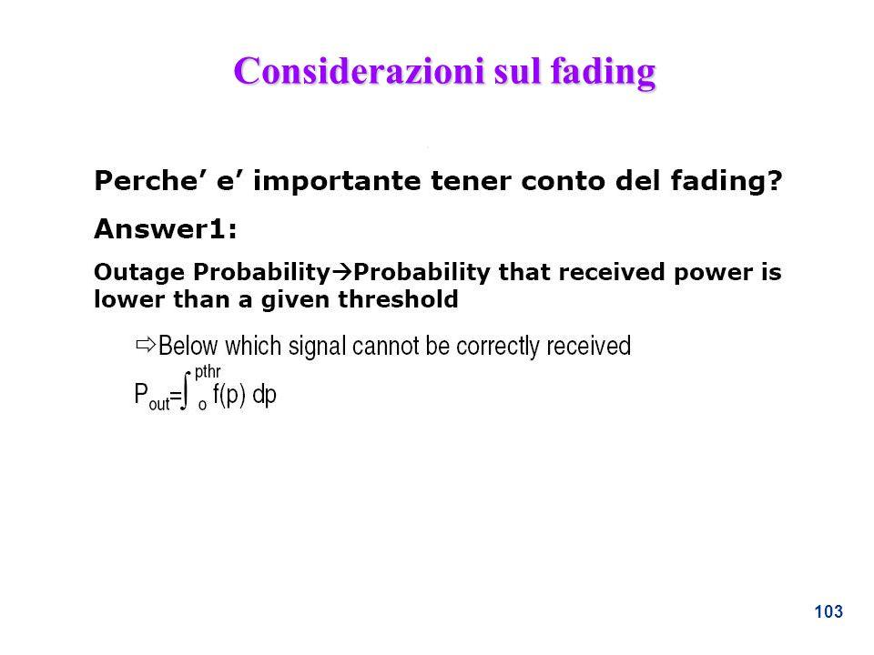 Considerazioni sul fading