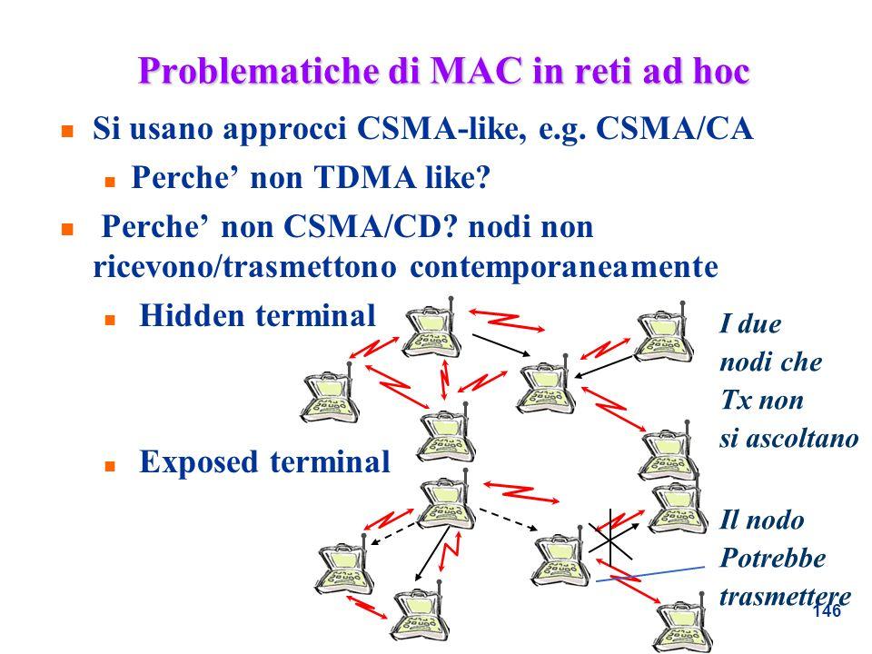 Problematiche di MAC in reti ad hoc