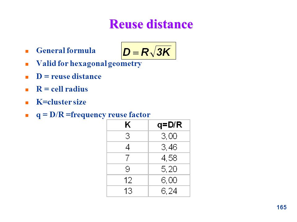 Reuse distance General formula Valid for hexagonal geometry