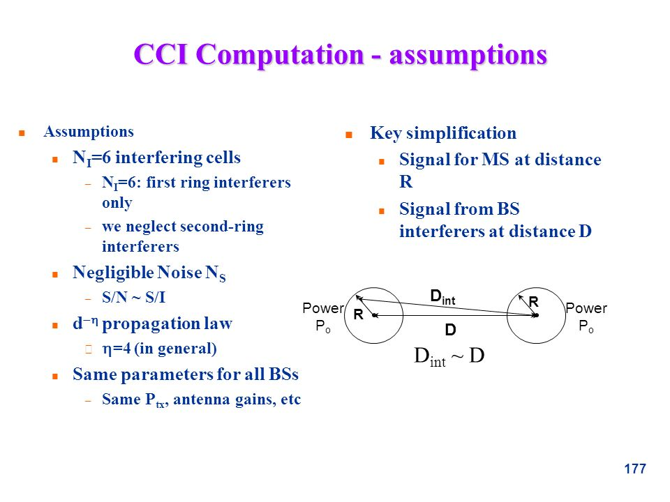 CCI Computation - assumptions