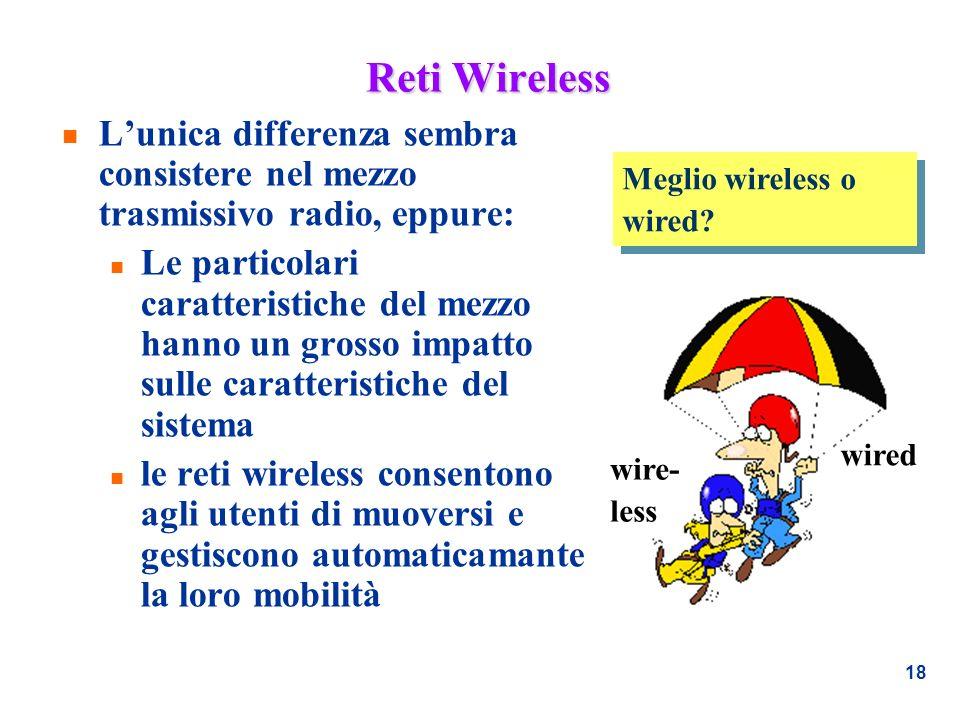 Reti Wireless L'unica differenza sembra consistere nel mezzo trasmissivo radio, eppure: