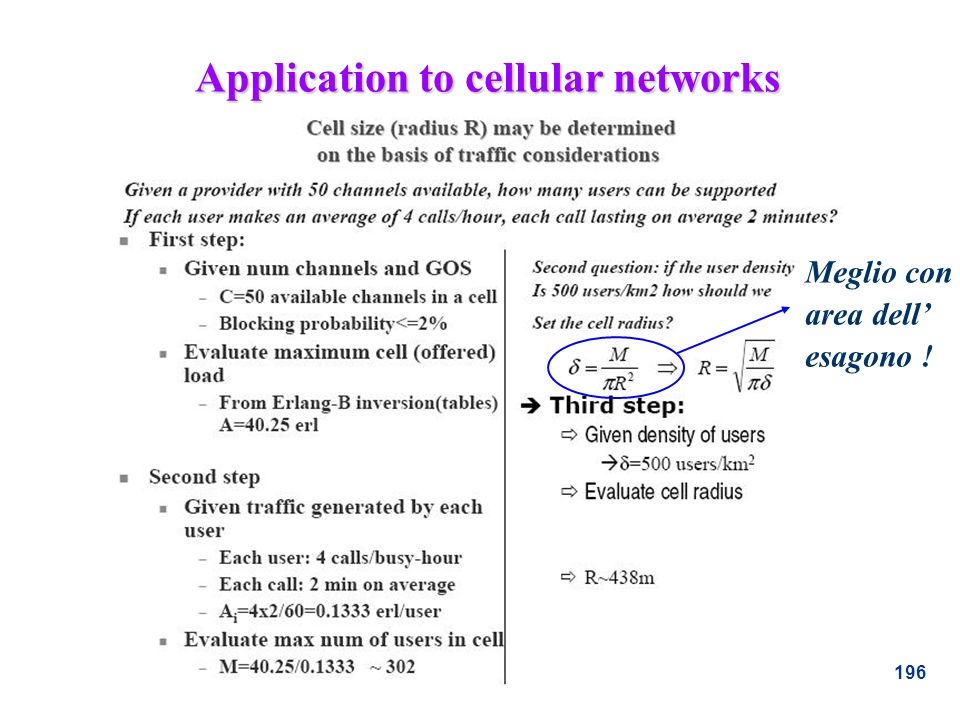 Application to cellular networks