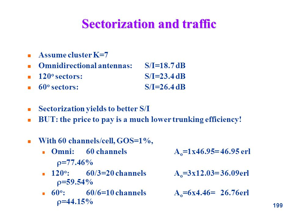 Sectorization and traffic