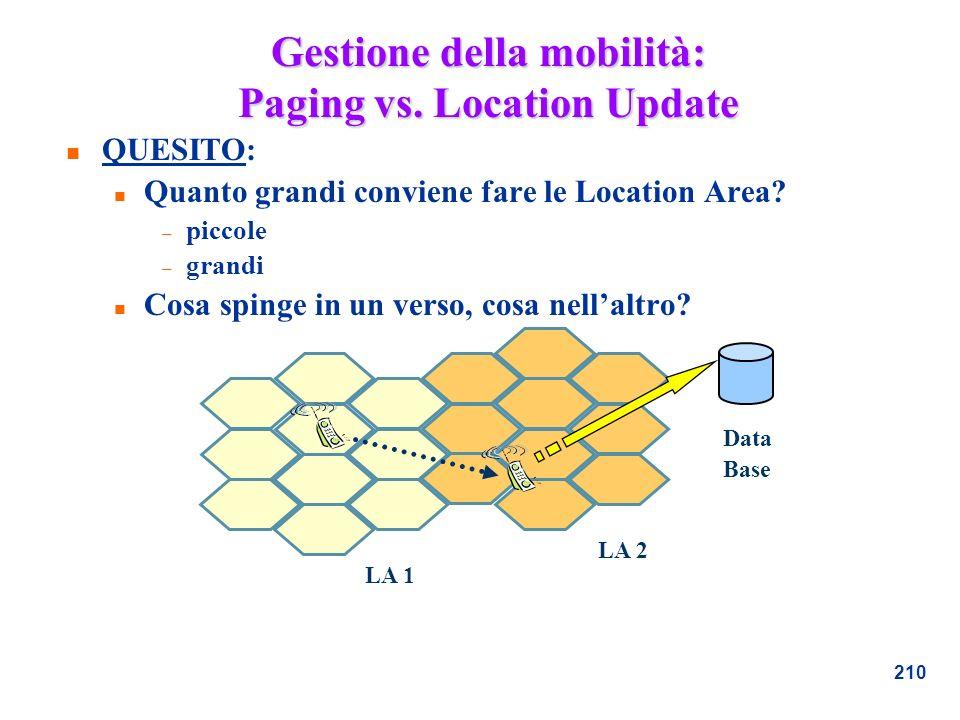 Gestione della mobilità: Paging vs. Location Update