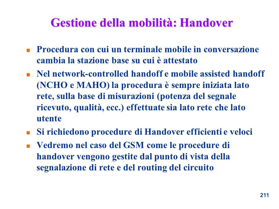 Gestione della mobilità: Handover