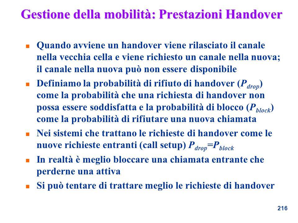 Gestione della mobilità: Prestazioni Handover