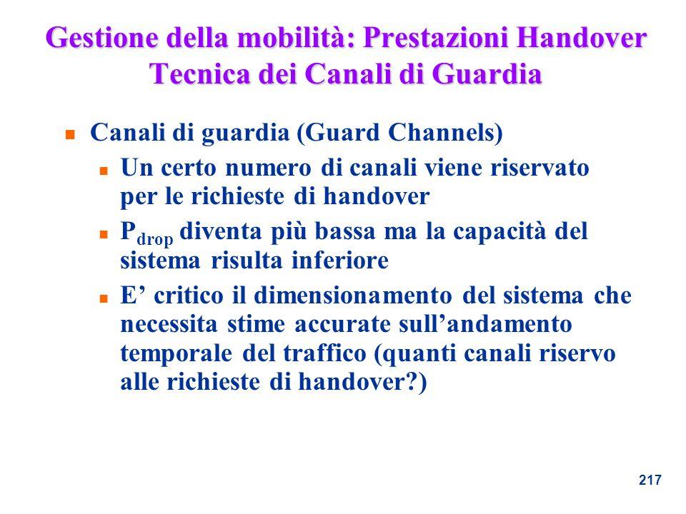 Gestione della mobilità: Prestazioni Handover Tecnica dei Canali di Guardia