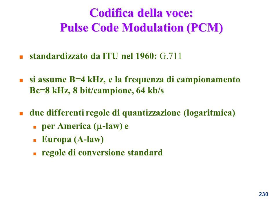 Codifica della voce: Pulse Code Modulation (PCM)