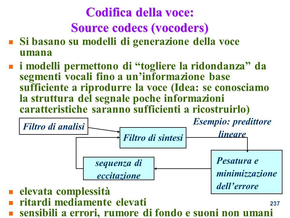 Codifica della voce: Source codecs (vocoders)