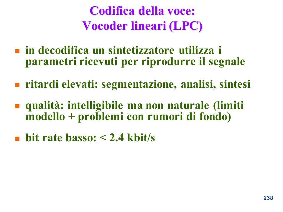 Codifica della voce: Vocoder lineari (LPC)