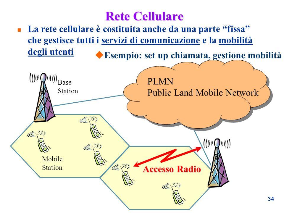 Rete Cellulare La rete cellulare è costituita anche da una parte fissa che gestisce tutti i servizi di comunicazione e la mobilità degli utenti.