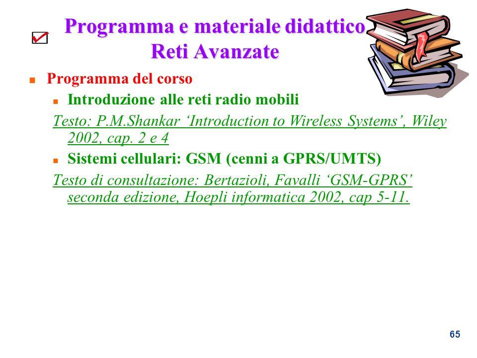 Programma e materiale didattico Reti Avanzate