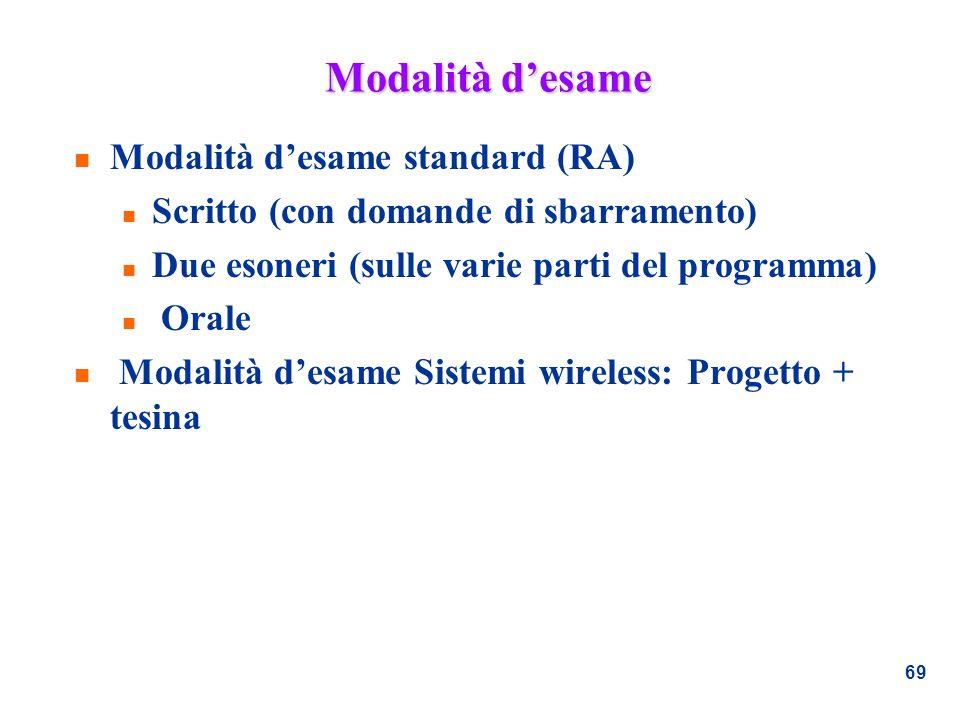 Modalità d'esame Modalità d'esame standard (RA)