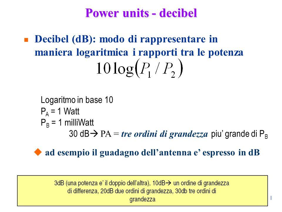 Power units - decibel Decibel (dB): modo di rappresentare in maniera logaritmica i rapporti tra le potenza.