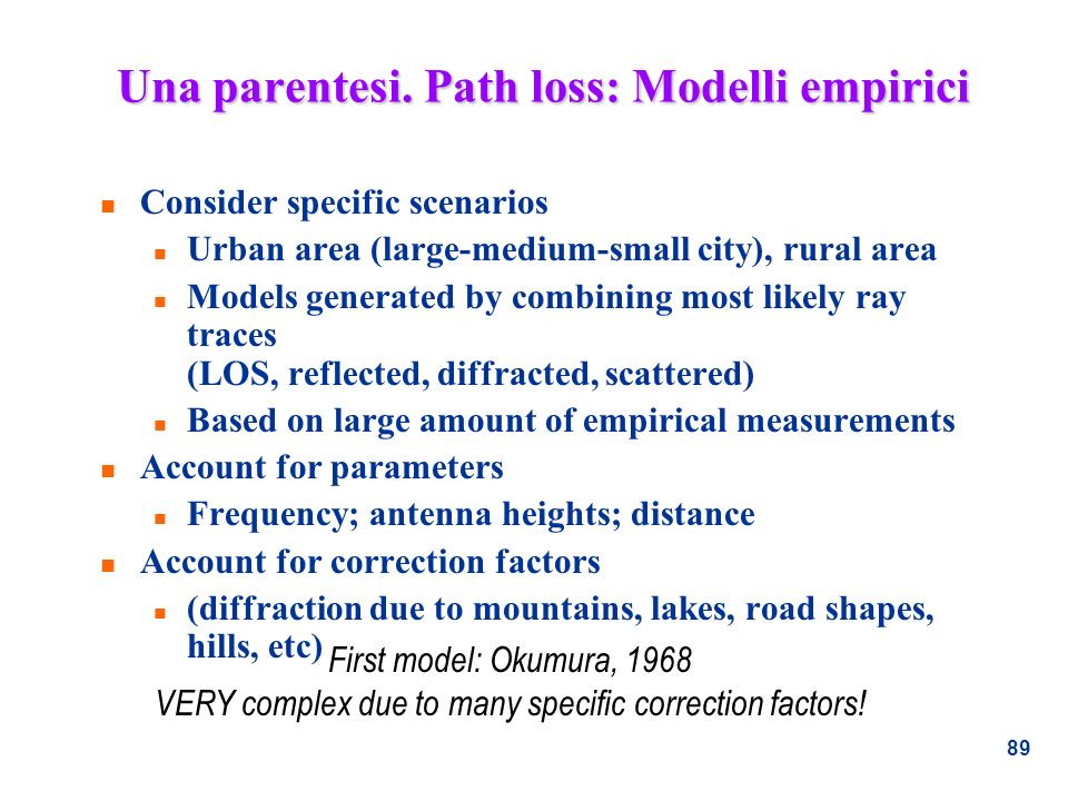 Una parentesi. Path loss: Modelli empirici