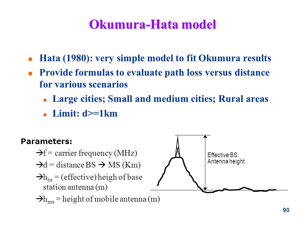 Okumura-Hata model Hata (1980): very simple model to fit Okumura results.