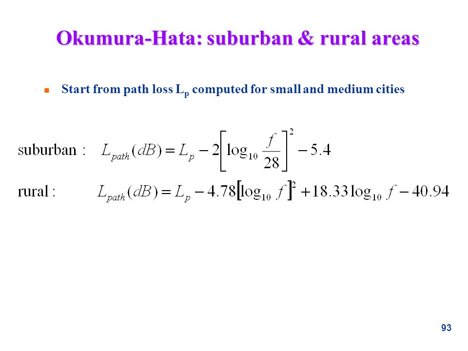 Okumura-Hata: suburban & rural areas