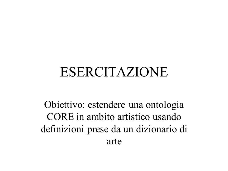 ESERCITAZIONE Obiettivo: estendere una ontologia CORE in ambito artistico usando definizioni prese da un dizionario di arte.