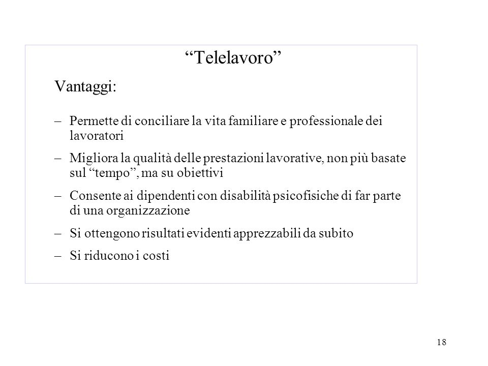Telelavoro Vantaggi: