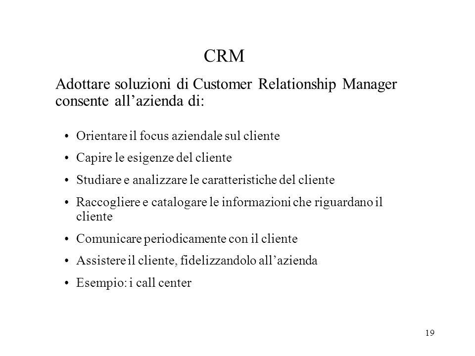 CRM Adottare soluzioni di Customer Relationship Manager consente all'azienda di: Orientare il focus aziendale sul cliente.