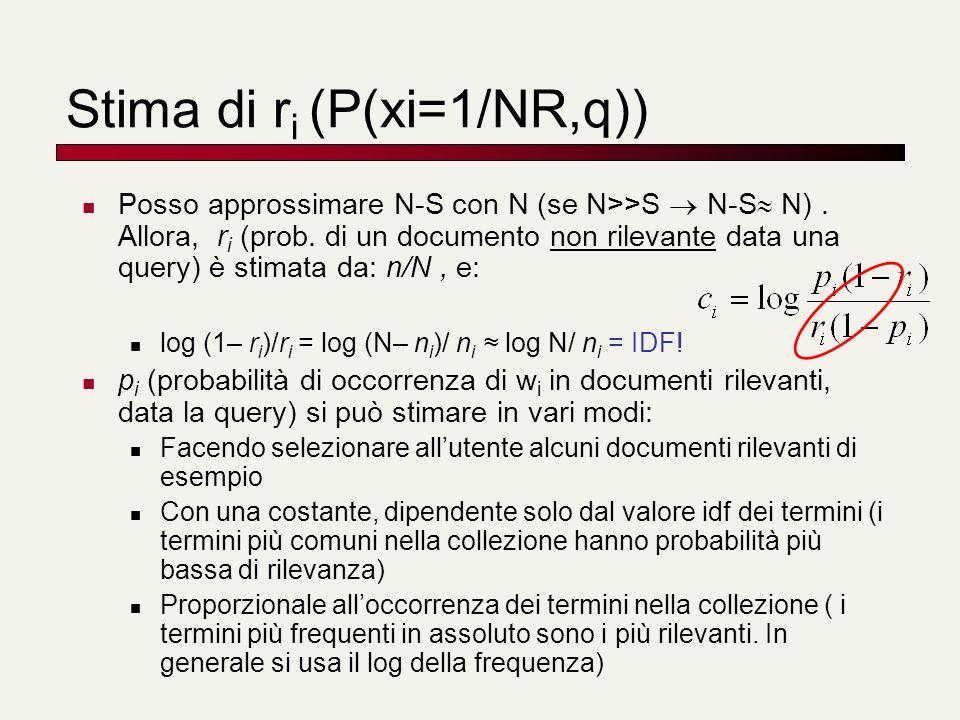 Stima di ri (P(xi=1/NR,q))