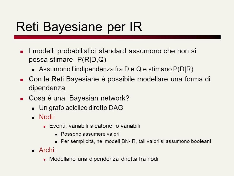 Reti Bayesiane per IR I modelli probabilistici standard assumono che non si possa stimare P(R|D,Q)