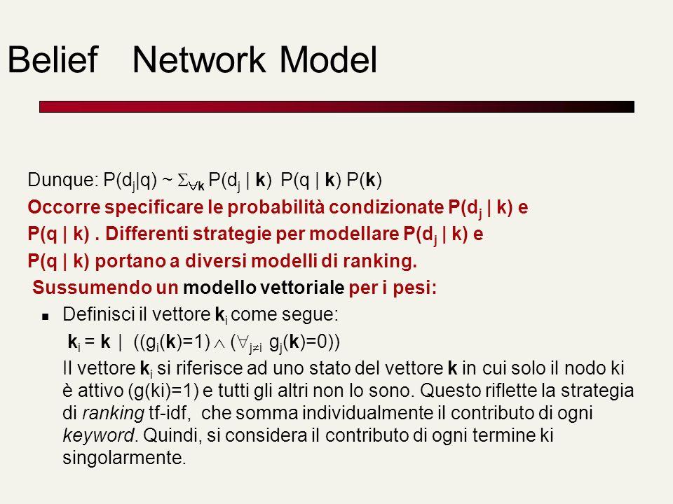Belief Network Model Dunque: P(dj|q) ~ k P(dj | k) P(q | k) P(k)